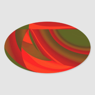 Red & Green Cubist Abstract Oval Sticker