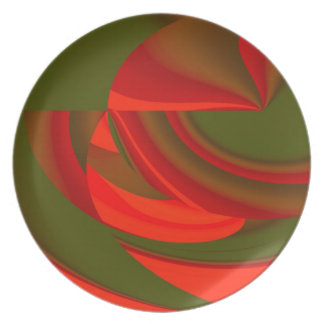 Red Green Cubist Abstract Plate
