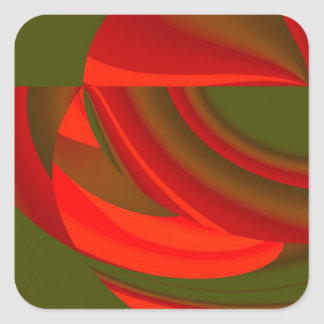 Red & Green Cubist Abstract Square Sticker