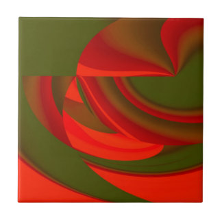 Red & Green Cubist Abstract Tile