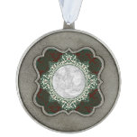 Red & Green Damask Custom Photo Holiday Ornament Scalloped Pewter Christmas Ornament