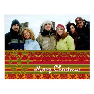 Red Green Damask Merry Christmas Postcard