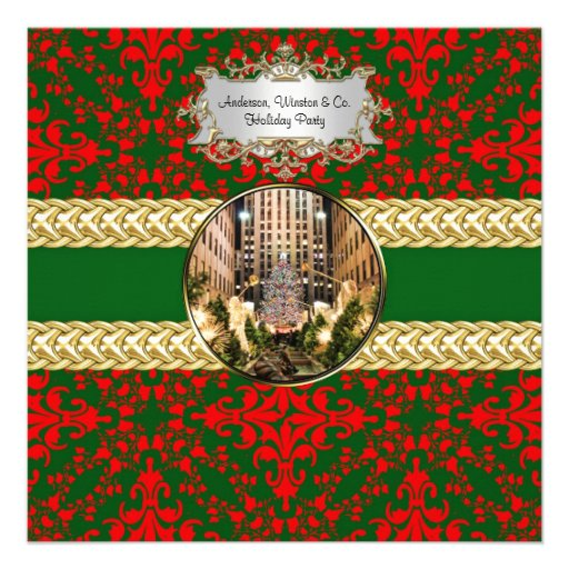 Red Green Damask, Rock Center Xmas Tree Custom Announcement