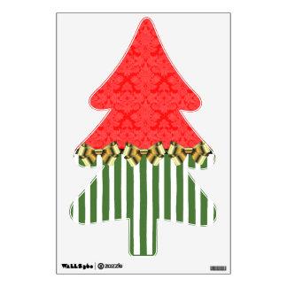 Red/Green Damask Stripe Xmas Tree Wall Sticker