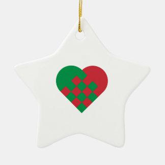 Red Green Danish Heart Christmas Ornaments