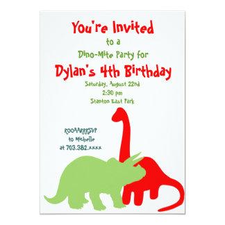 "Red & Green Dinosaur Birthday Party Invitations 5"" X 7"" Invitation Card"