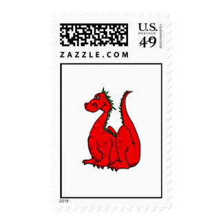 Red & Green Dragon.png Postage Stamp