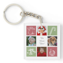 red green eight photos collage acrylic key chain