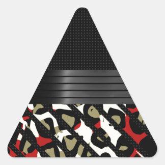 Red Green Elegant Cheetah Triangle Sticker