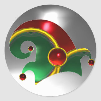 RED GREEN ELF HAT /GOLD JEWELS ,  RUBY GEM STONES CLASSIC ROUND STICKER