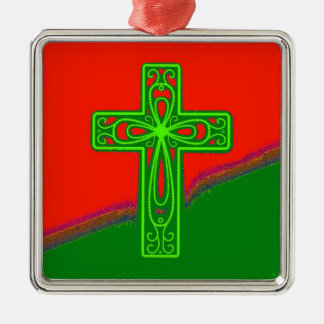 Red Green Fancy Christian Cross Photo Design Metal Ornament