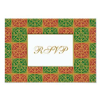 Red Green Fleur de Lis Custom RSVP Car 3.5x5 Paper Invitation Card