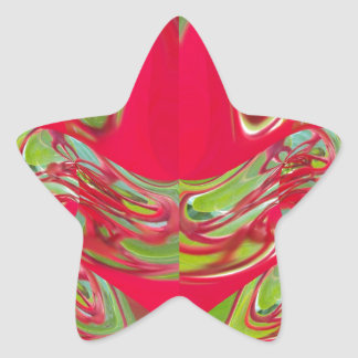 Red & Green Flora Vintage Hakuna Matata Gifts Star Sticker