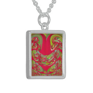 Red & Green Flora Vintage Hakuna Matata Gifts Sterling Silver Necklace