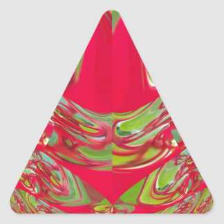 Red & Green Flora Vintage Hakuna Matata Gifts Triangle Sticker