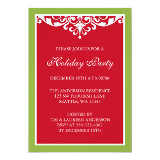 Red Green Flourish Scroll Christmas Holiday Party Card