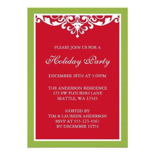 Red Green Flourish Scroll Christmas Holiday Party Personalized Invites