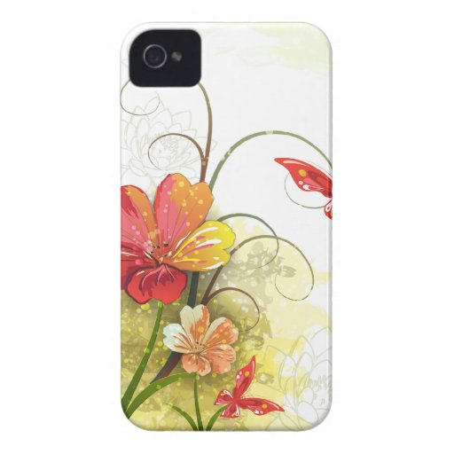 Red green flowers + butterfly iphone 4 case