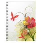 Red green flowers + butterfly notebook