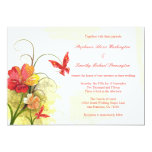 "Red green flowers + butterfly wedding invitation 5"" x 7"" invitation card"