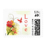 Red green flowers + butterfly wedding love stamps