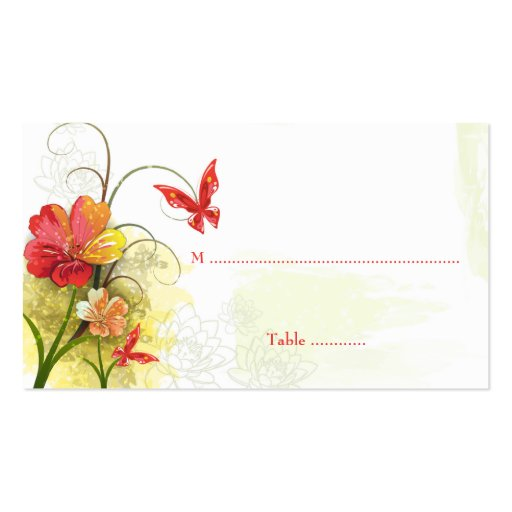 Red green flowers + butterfly wedding place card business card