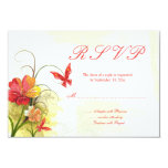 "Red green flowers + butterfly wedding rsvp reply 3.5"" x 5"" invitation card"