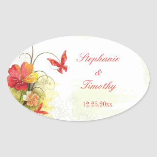 Red green flowers + butterfly wedding stickers