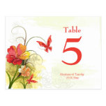 Red green flowers + butterfly wedding table number postcard