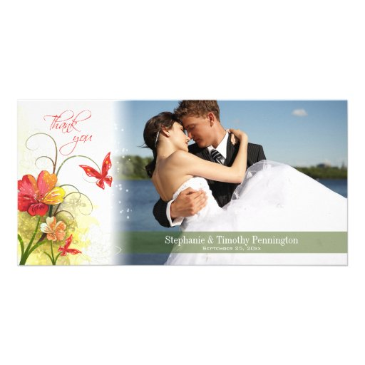 Red green flowers + butterfly wedding thank you photo greeting card