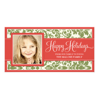RED & GREEN FORMAL DAMASK  | HOLIDAY PHOTO CARD