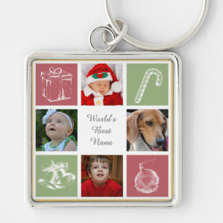 red green four photos collage keychain