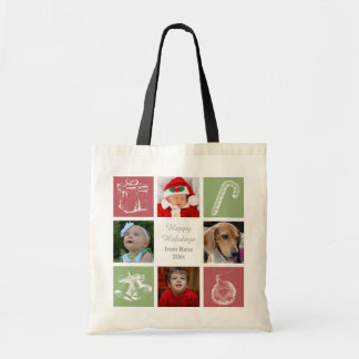 red green four photos collage photo bag