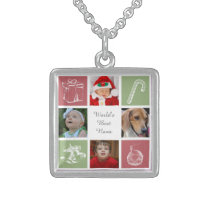 red green four photos collage photo necklace
