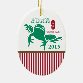 Red & Green Frog Stripe Photo Ornament