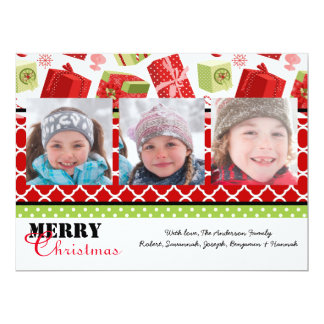 Red & Green Gifts 3 Photos - 6x8 Christmas Card