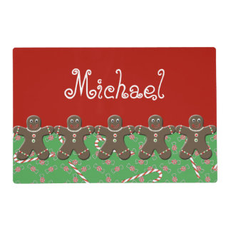 Red Green Gingerbread Man Christmas Name Michael Placemat