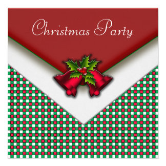 Red Green Gingham Red Bells Holly Christmas Party Personalized Announcements