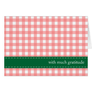 Red green gingham ribbon custom photo thank you card