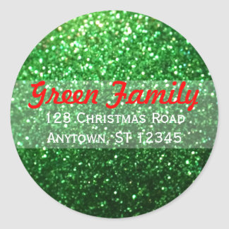 Red & Green Glitter Christmas Return Address Label Classic Round Sticker