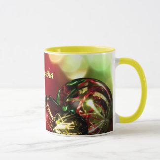 Red, Green, Gold Bokeh Lights and Ornaments Custom Mug