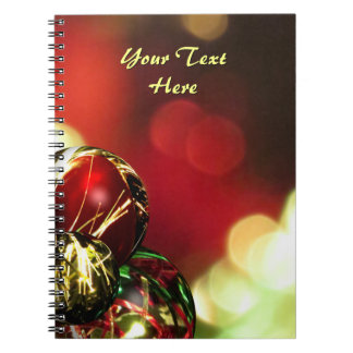 Red, Green, Gold Bokeh Lights and Ornaments Custom Spiral Notebook