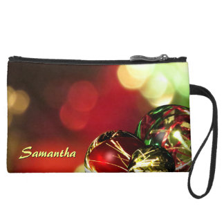 Red, Green, Gold Bokeh Lights and Ornaments Custom Suede Wristlet Wallet