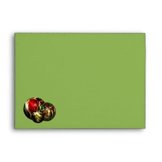 Red, Green, Gold Bokeh Lights and Ornaments Envelope