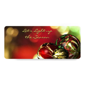 Red, Green, Gold Bokeh Lights and Ornaments 4x9.25 Paper Invitation Card