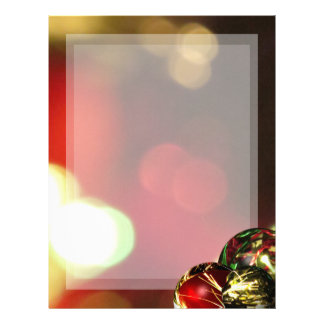 Red, Green, Gold Bokeh Lights and Ornaments Letterhead