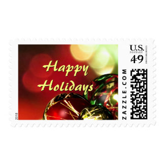 Red, Green, Gold Bokeh Lights and Ornaments Postage