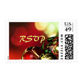 Red, Green, Gold Bokeh Lights and Ornaments RSVP Postage