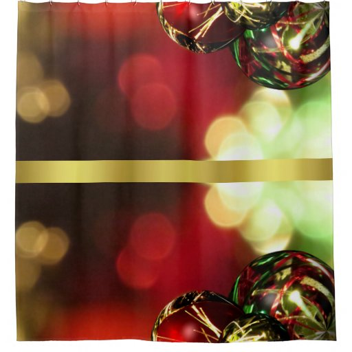 Red Green Gold Bokeh Lights And Ornaments Shower Curtain Zazzle