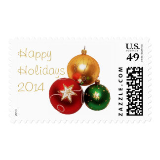 Red Green Gold Christmas Ornaments  Stamps